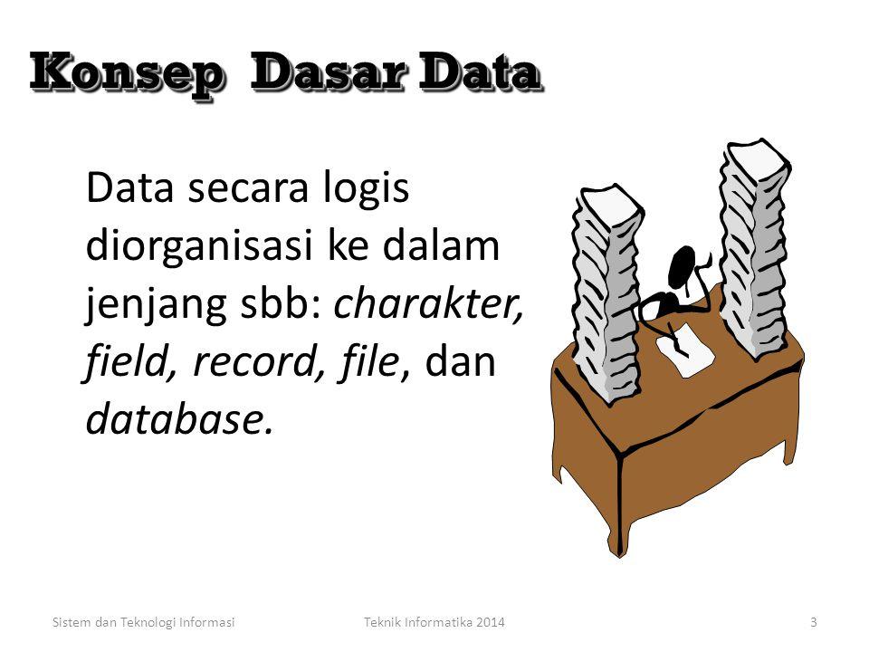 Konsep Dasar Data Data secara logis diorganisasi ke dalam jenjang sbb: charakter, field, record, file, dan database.