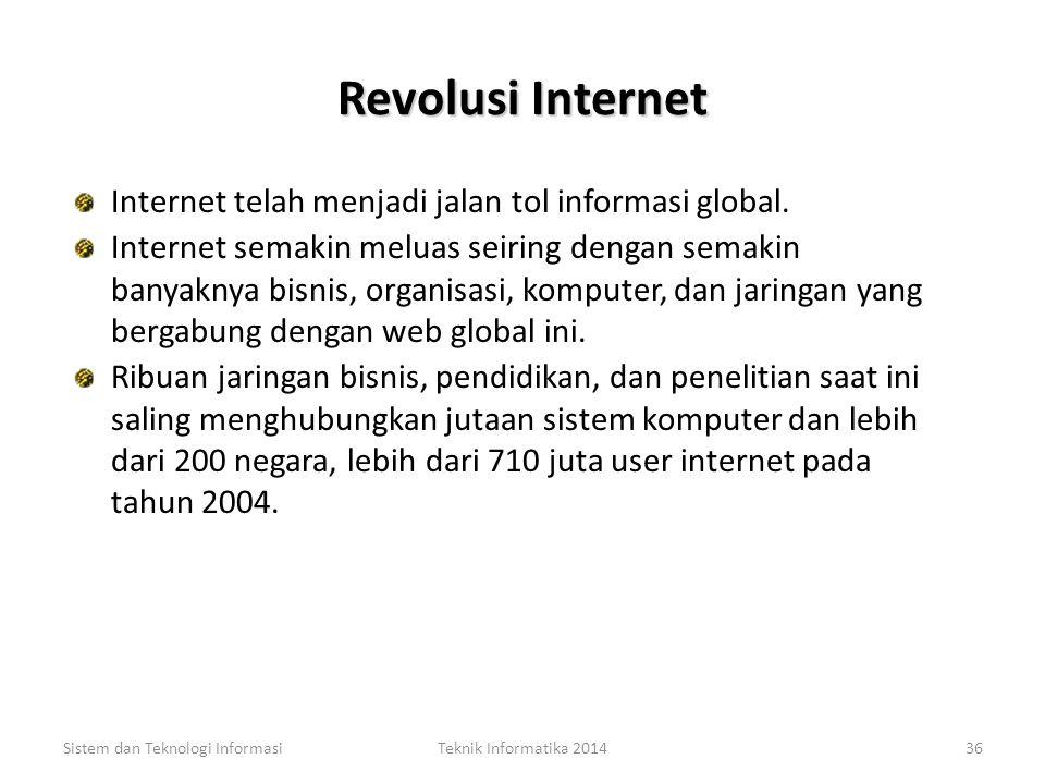 Revolusi Internet Internet telah menjadi jalan tol informasi global.