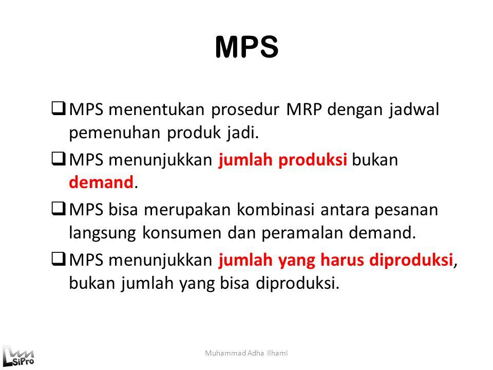 MPS MPS menentukan prosedur MRP dengan jadwal pemenuhan produk jadi.