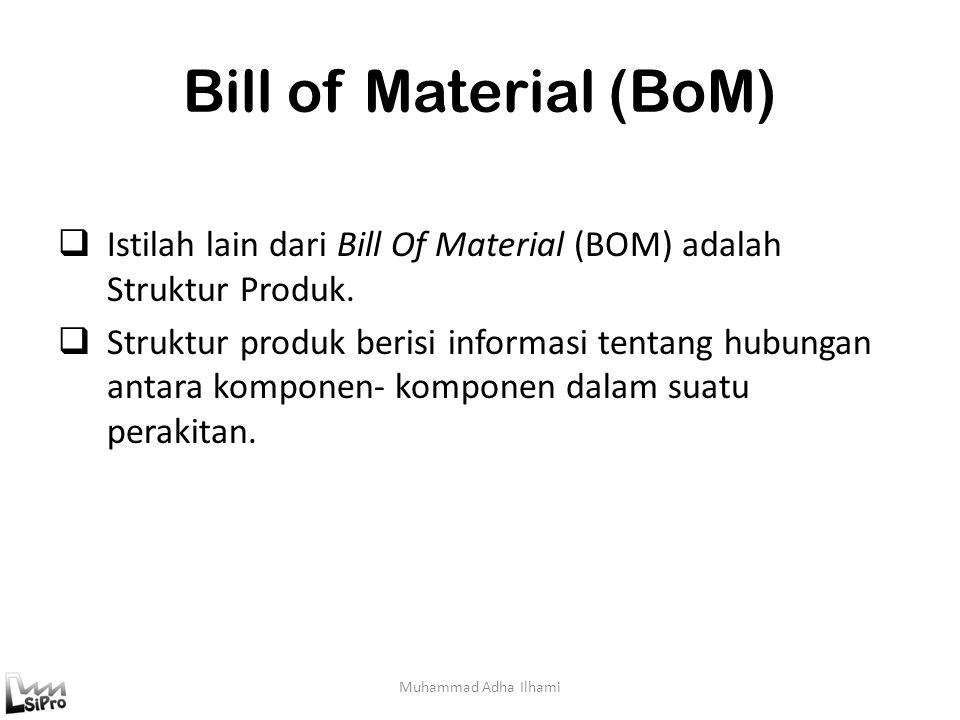 Bill of Material (BoM) Istilah lain dari Bill Of Material (BOM) adalah Struktur Produk.