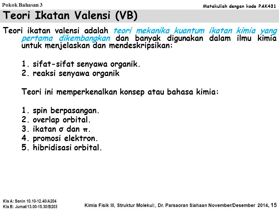 Teori Ikatan Valensi (VB)