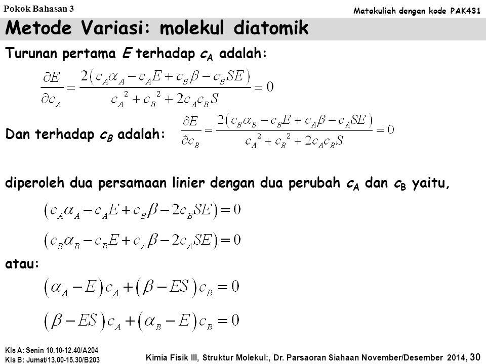 Metode Variasi: molekul diatomik