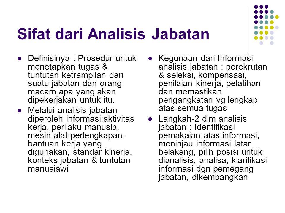 Sifat dari Analisis Jabatan