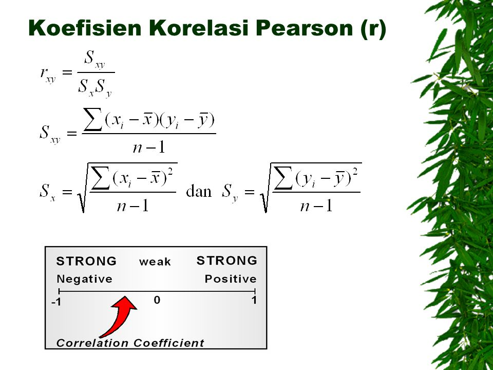 Koefisien Korelasi Pearson (r)