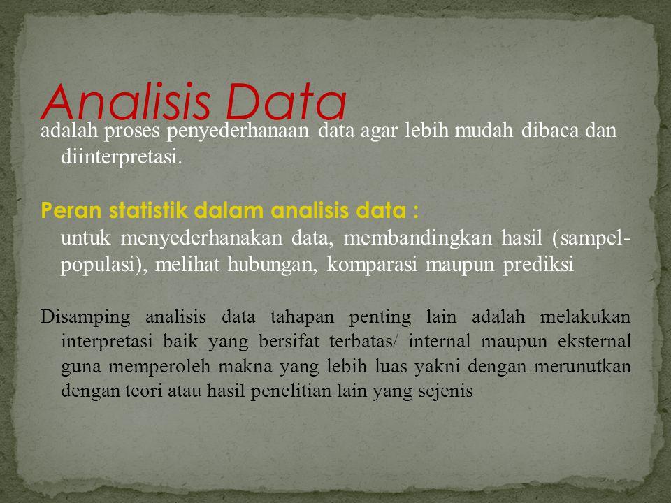 Analisis Data adalah proses penyederhanaan data agar lebih mudah dibaca dan diinterpretasi. Peran statistik dalam analisis data :