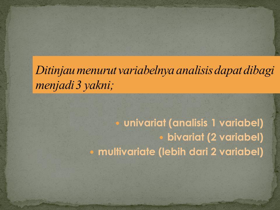Ditinjau menurut variabelnya analisis dapat dibagi menjadi 3 yakni;