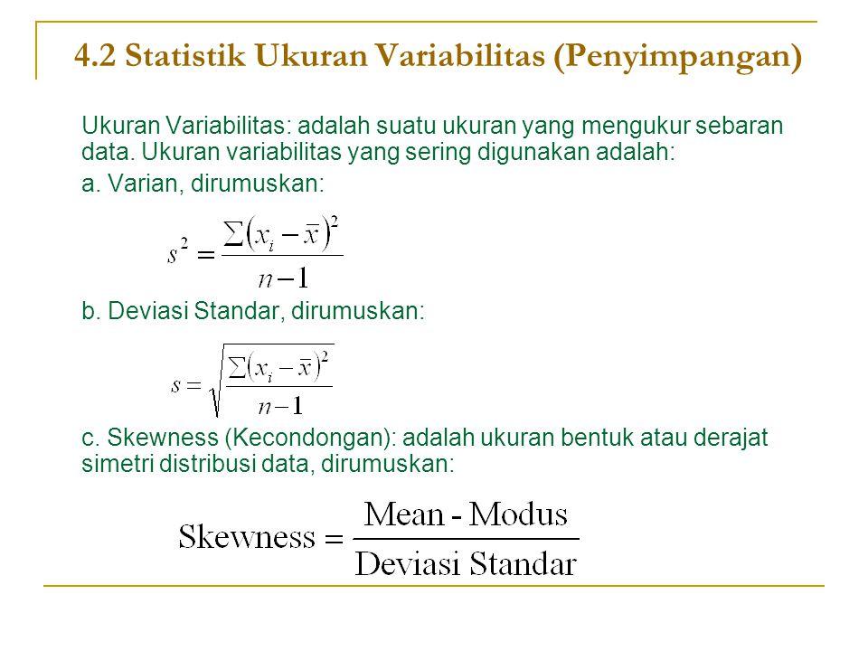 4.2 Statistik Ukuran Variabilitas (Penyimpangan)
