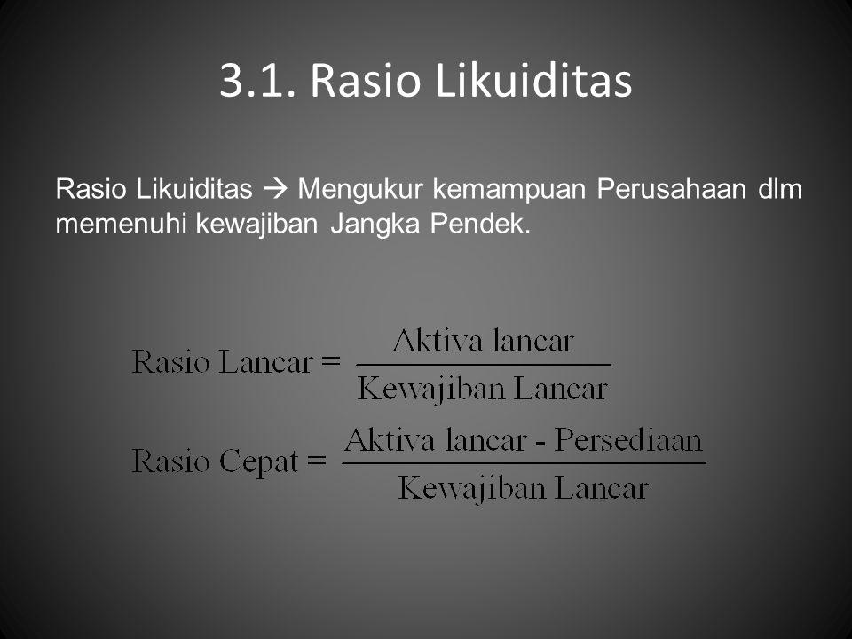 3.1. Rasio Likuiditas Rasio Likuiditas  Mengukur kemampuan Perusahaan dlm.