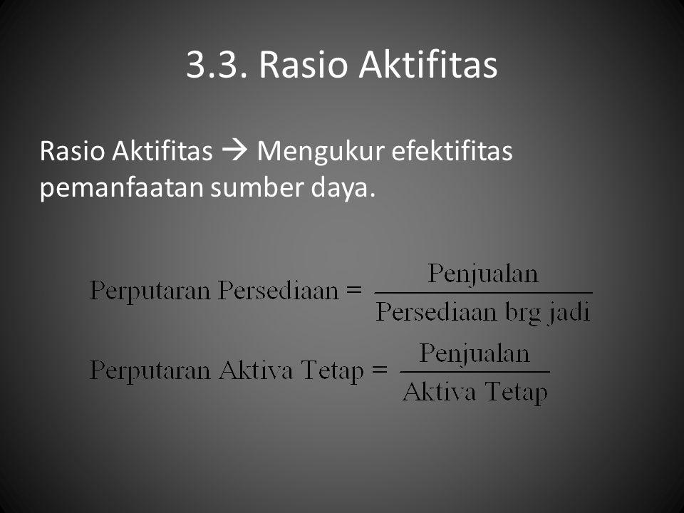 3.3. Rasio Aktifitas Rasio Aktifitas  Mengukur efektifitas pemanfaatan sumber daya.