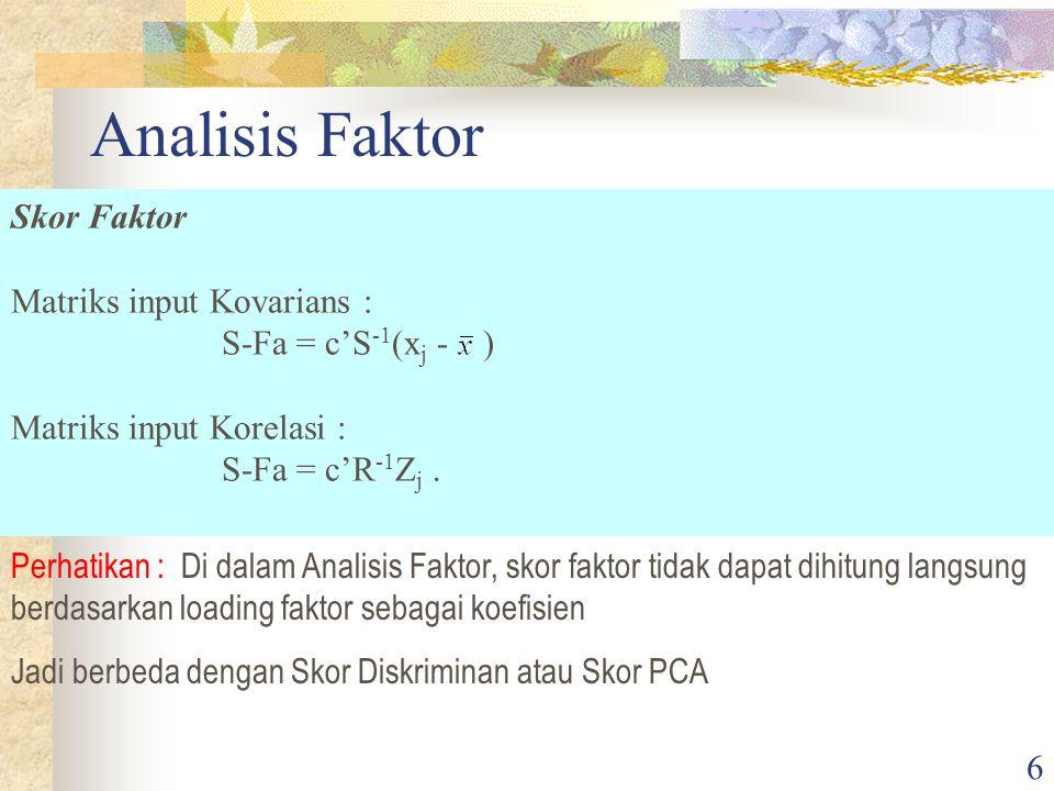 Analisis Faktor Skor Faktor Matriks input Kovarians :
