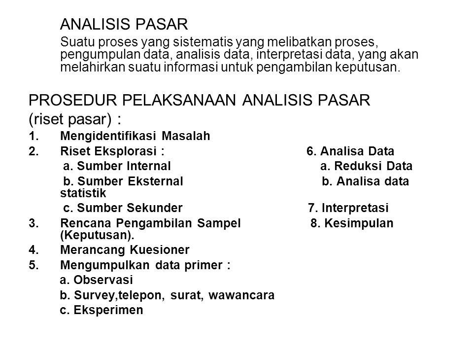 PROSEDUR PELAKSANAAN ANALISIS PASAR (riset pasar) :