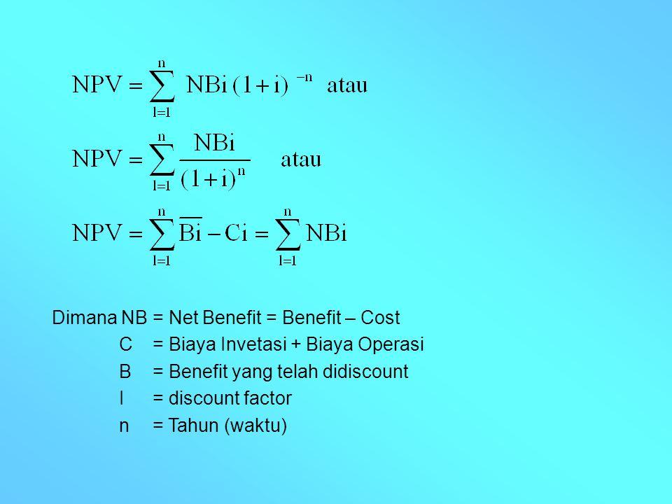 Dimana NB = Net Benefit = Benefit – Cost