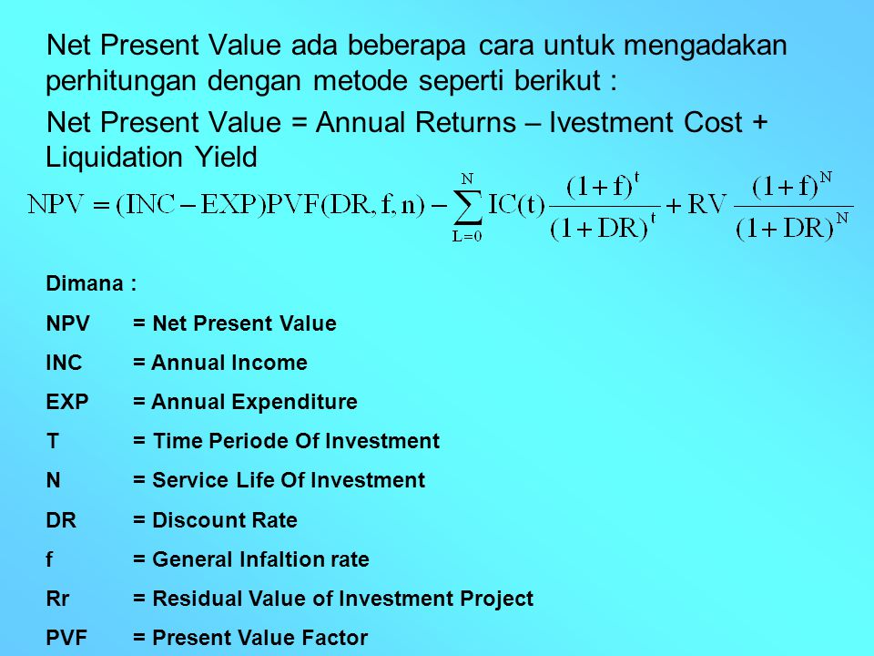net present value and net income