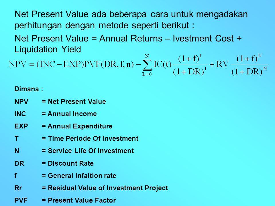 Net Present Value ada beberapa cara untuk mengadakan perhitungan dengan metode seperti berikut :