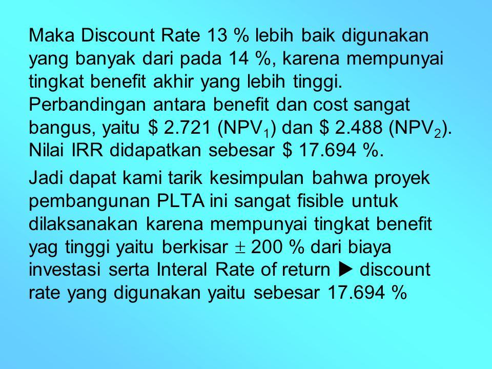 Maka Discount Rate 13 % lebih baik digunakan yang banyak dari pada 14 %, karena mempunyai tingkat benefit akhir yang lebih tinggi. Perbandingan antara benefit dan cost sangat bangus, yaitu $ 2.721 (NPV1) dan $ 2.488 (NPV2). Nilai IRR didapatkan sebesar $ 17.694 %.