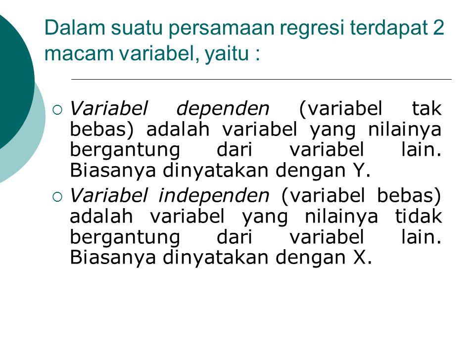 Dalam suatu persamaan regresi terdapat 2 macam variabel, yaitu :