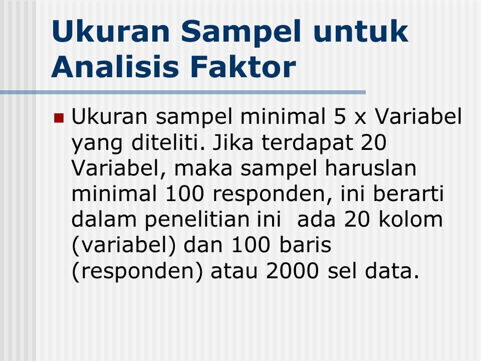 Ukuran Sampel untuk Analisis Faktor