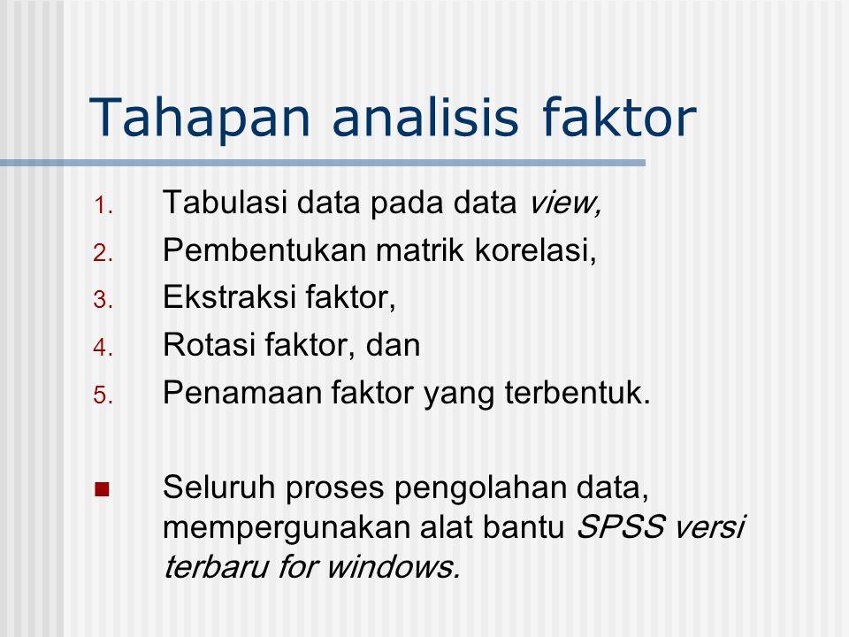Tahapan analisis faktor