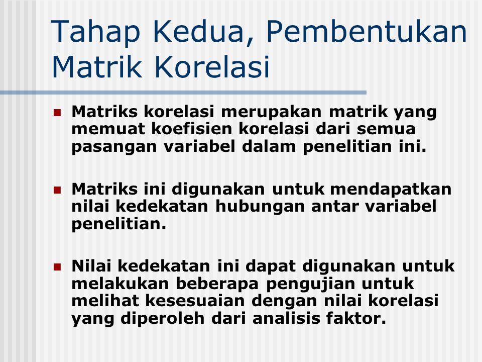 Tahap Kedua, Pembentukan Matrik Korelasi