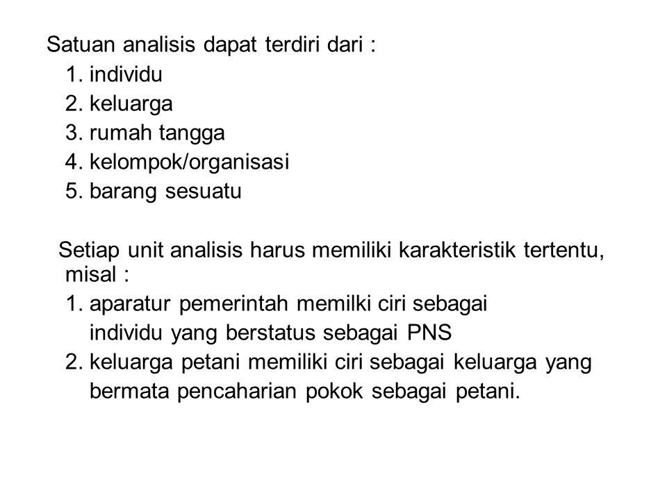 Satuan analisis dapat terdiri dari :