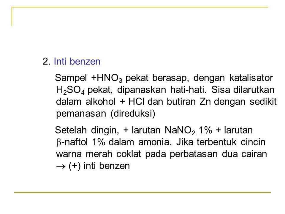H2SO4 pekat, dipanaskan hati-hati. Sisa dilarutkan