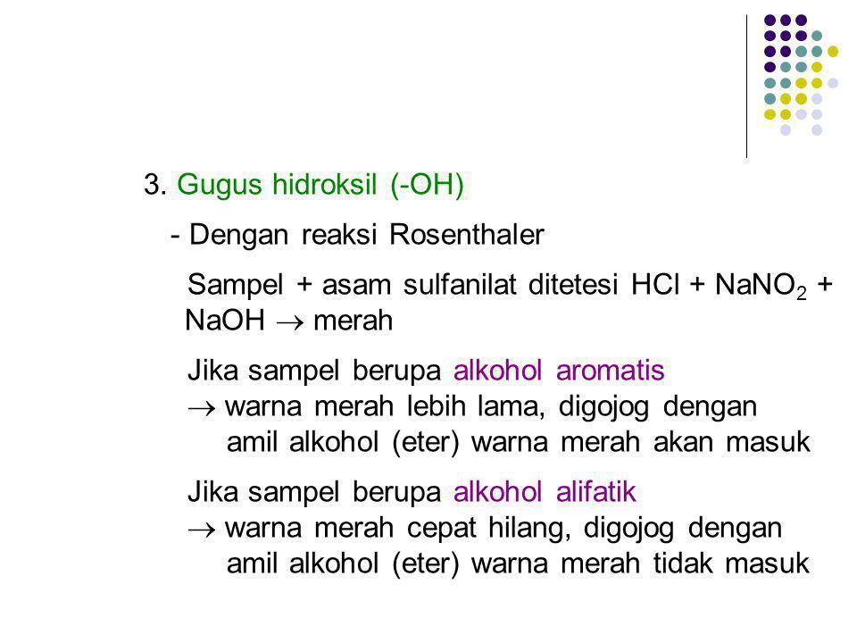 3. Gugus hidroksil (-OH) - Dengan reaksi Rosenthaler. Sampel + asam sulfanilat ditetesi HCl + NaNO2 +