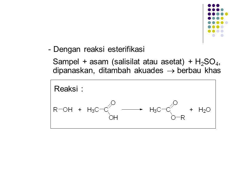 - Dengan reaksi esterifikasi
