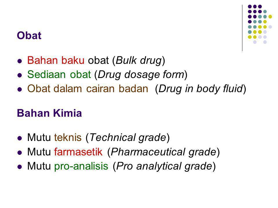 Obat Bahan baku obat (Bulk drug) Sediaan obat (Drug dosage form) Obat dalam cairan badan (Drug in body fluid)