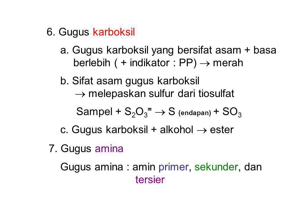6. Gugus karboksil a. Gugus karboksil yang bersifat asam + basa. berlebih ( + indikator : PP)  merah.