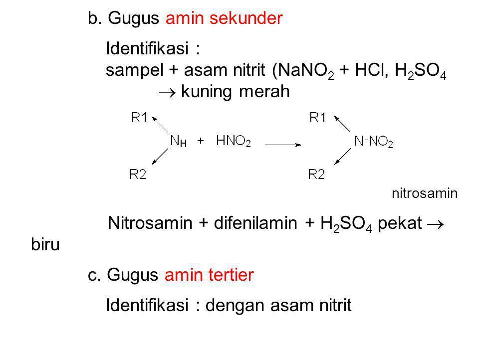 sampel + asam nitrit (NaNO2 + HCl, H2SO4  kuning merah