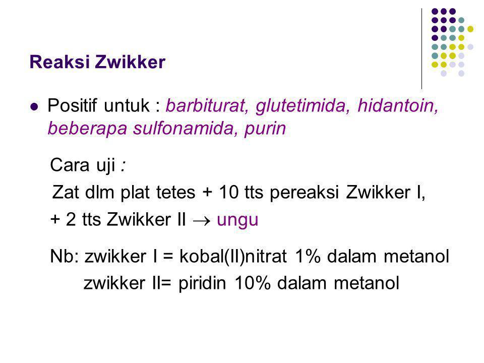 Reaksi Zwikker Positif untuk : barbiturat, glutetimida, hidantoin, beberapa sulfonamida, purin. Cara uji :