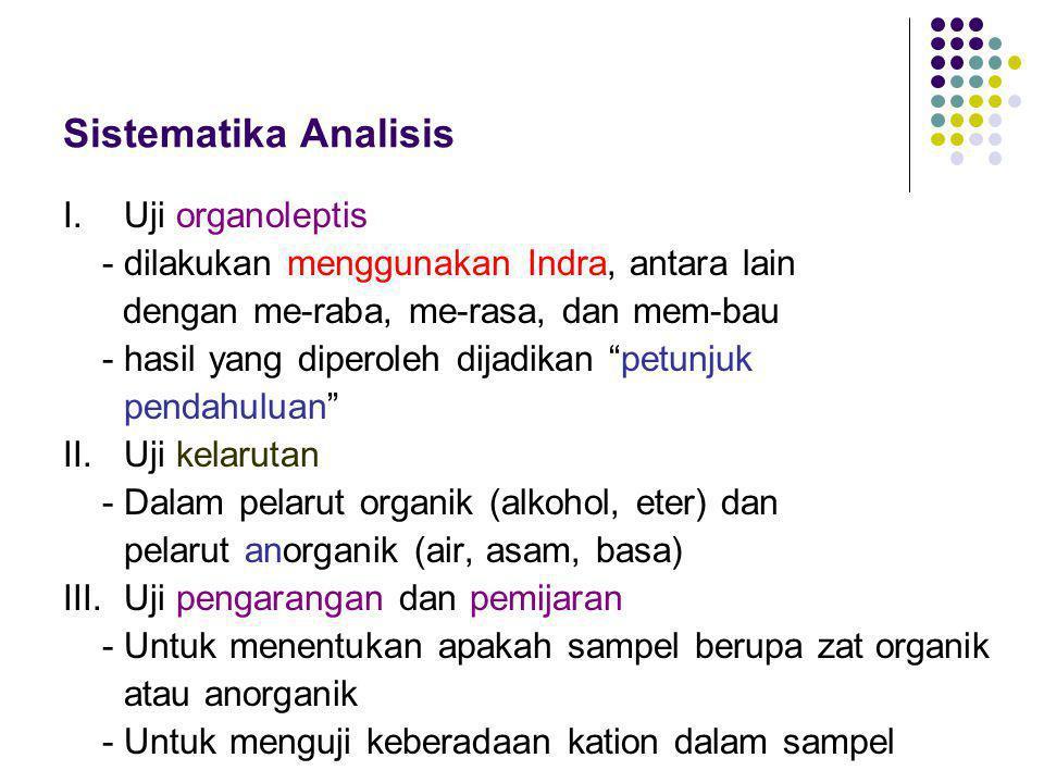 Sistematika Analisis I. Uji organoleptis