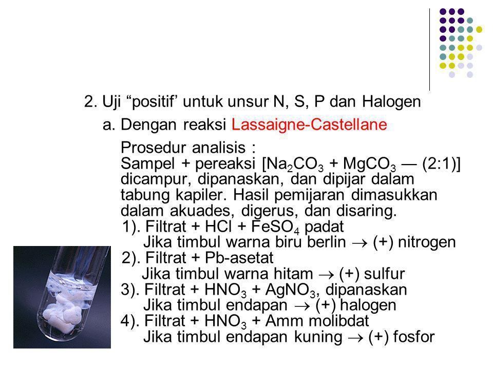 2. Uji positif' untuk unsur N, S, P dan Halogen
