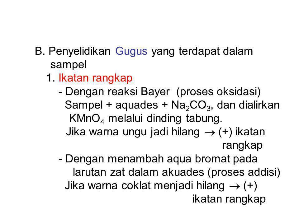 B. Penyelidikan Gugus yang terdapat dalam sampel 1