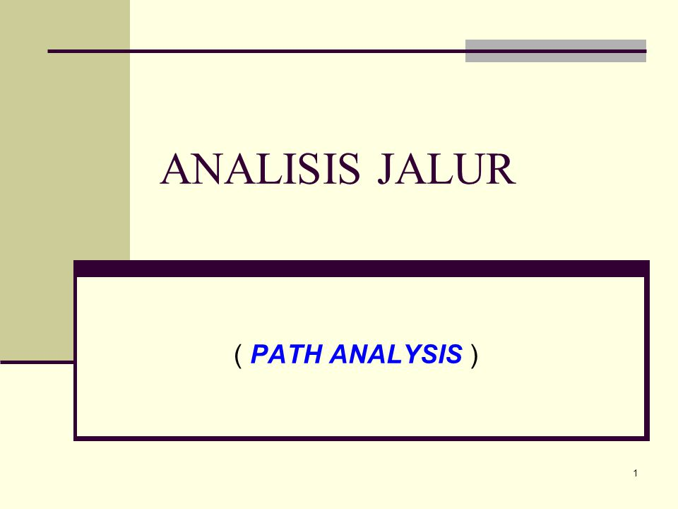 ANALISIS JALUR ( PATH ANALYSIS )