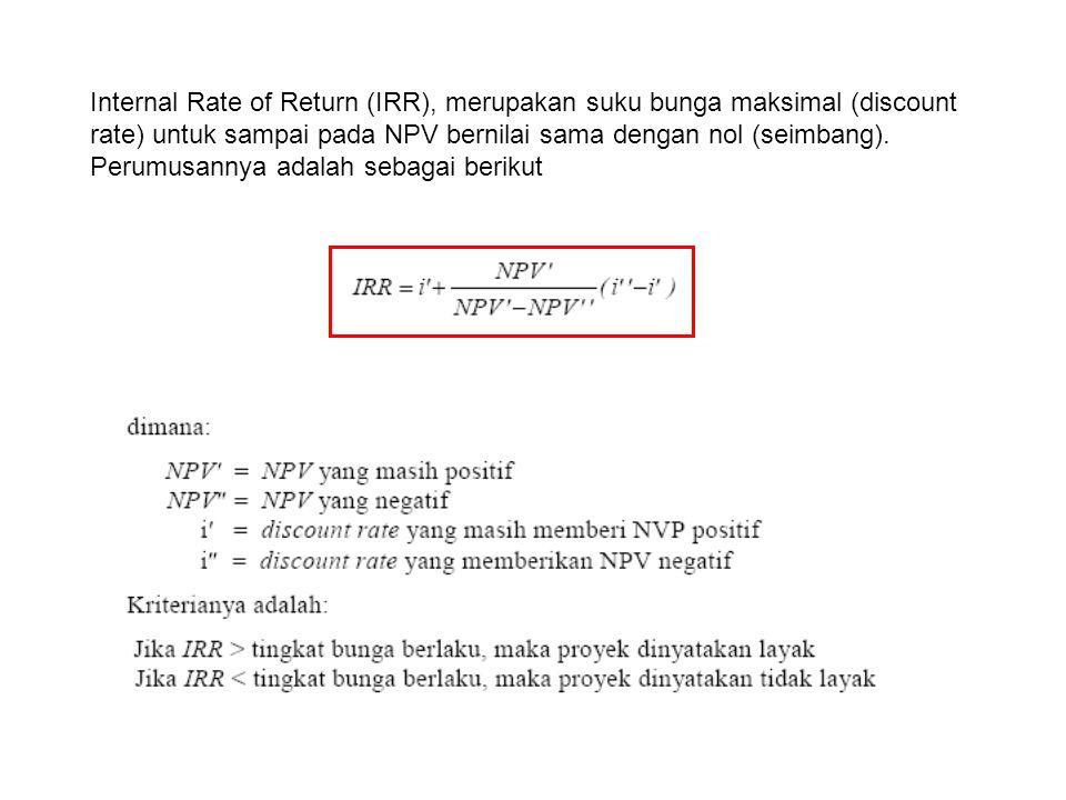 Internal Rate of Return (IRR), merupakan suku bunga maksimal (discount rate) untuk sampai pada NPV bernilai sama dengan nol (seimbang).