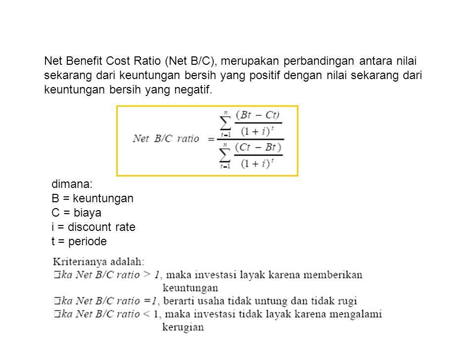 Net Benefit Cost Ratio (Net B/C), merupakan perbandingan antara nilai