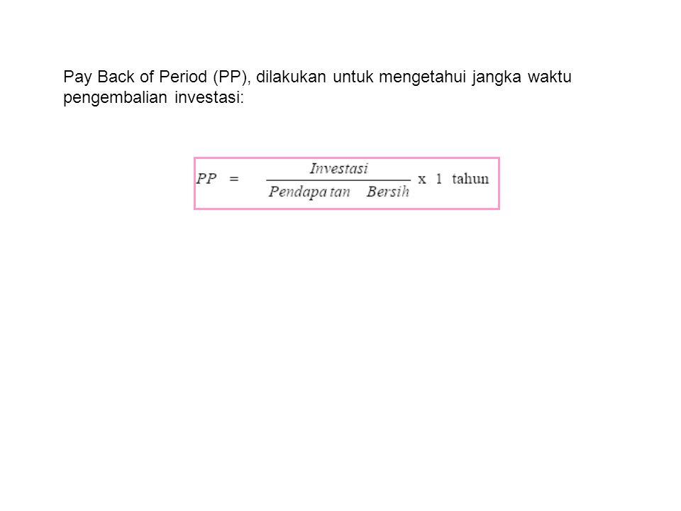 Pay Back of Period (PP), dilakukan untuk mengetahui jangka waktu