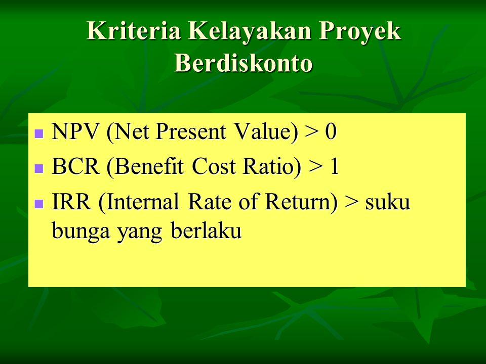 Kriteria Kelayakan Proyek Berdiskonto