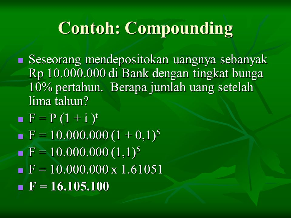 Contoh: Compounding