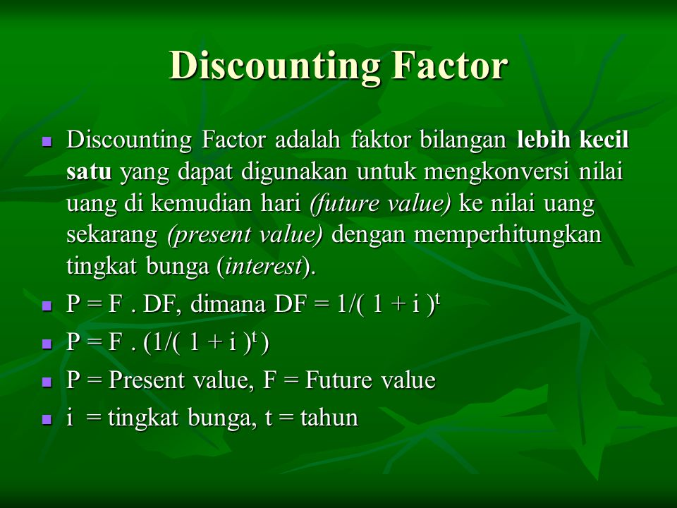 Discounting Factor