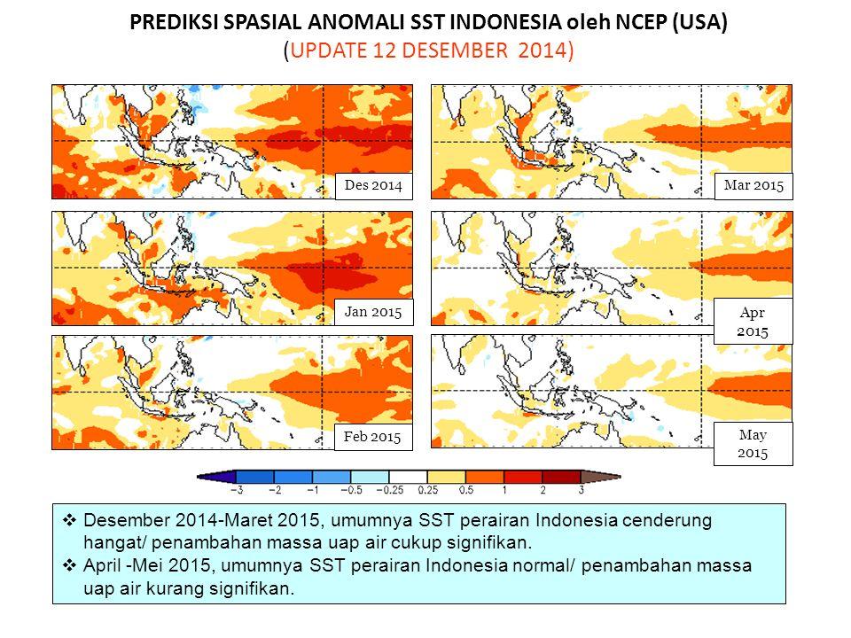 PREDIKSI SPASIAL ANOMALI SST INDONESIA oleh NCEP (USA) (UPDATE 12 DESEMBER 2014)