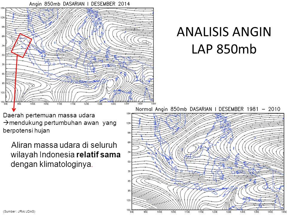 ANALISIS ANGIN LAP 850mb Daerah pertemuan massa udara mendukung pertumbuhan awan yang berpotensi hujan.