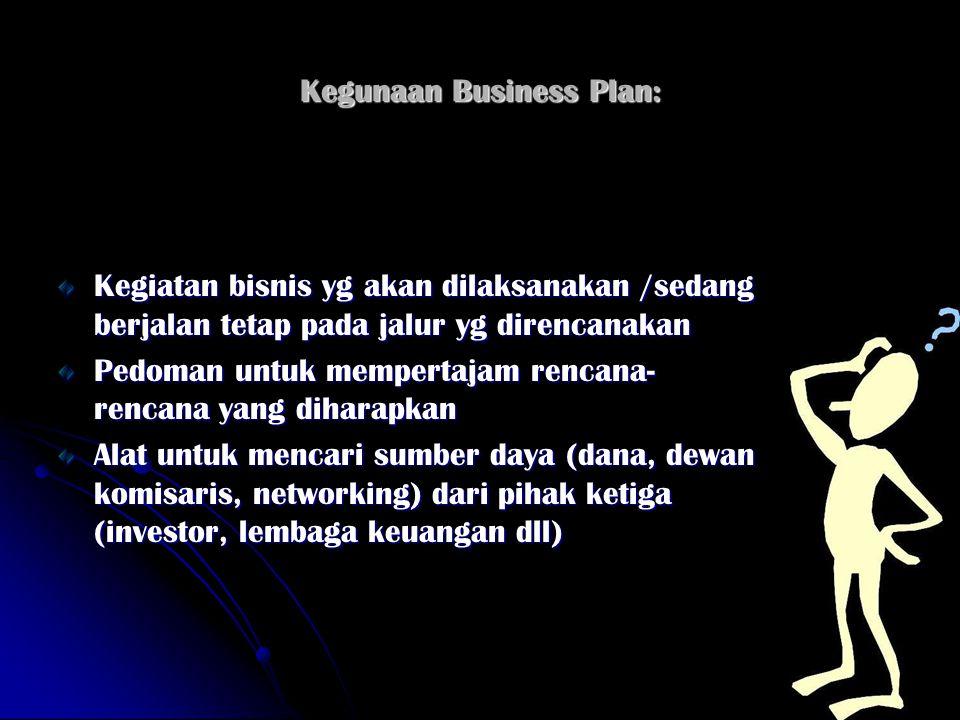 Kegunaan Business Plan: