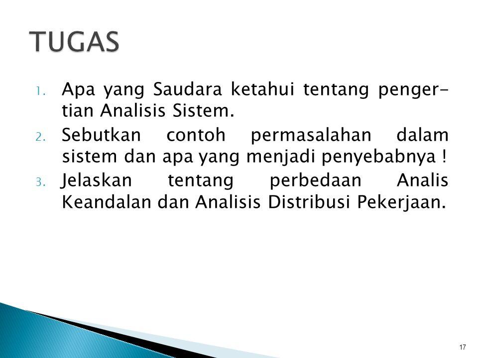 TUGAS Apa yang Saudara ketahui tentang penger- tian Analisis Sistem.