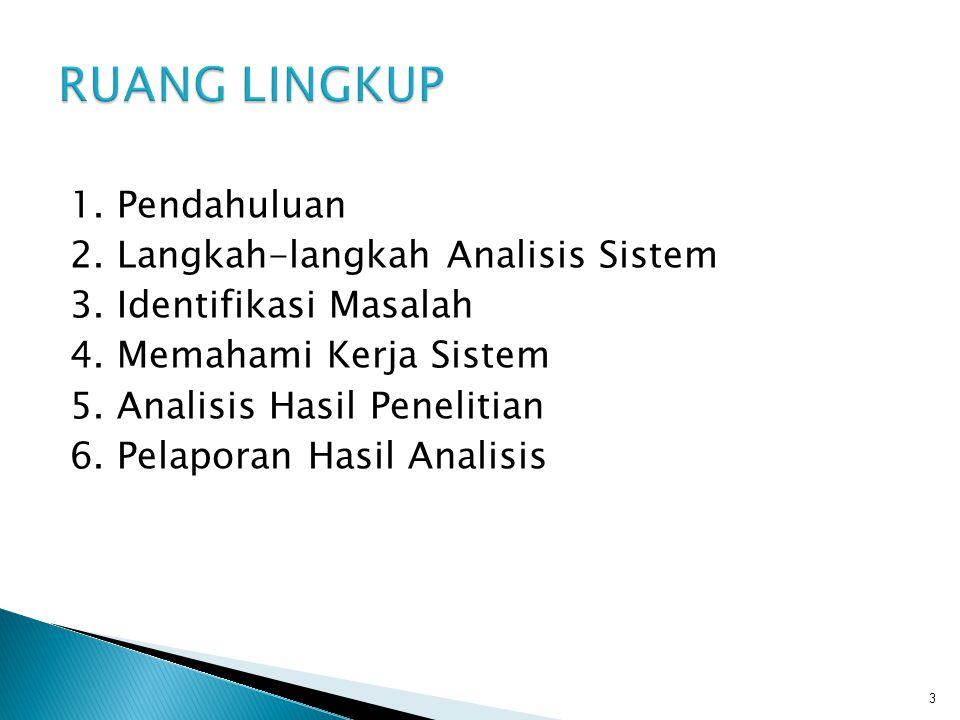 RUANG LINGKUP 1. Pendahuluan 2. Langkah-langkah Analisis Sistem