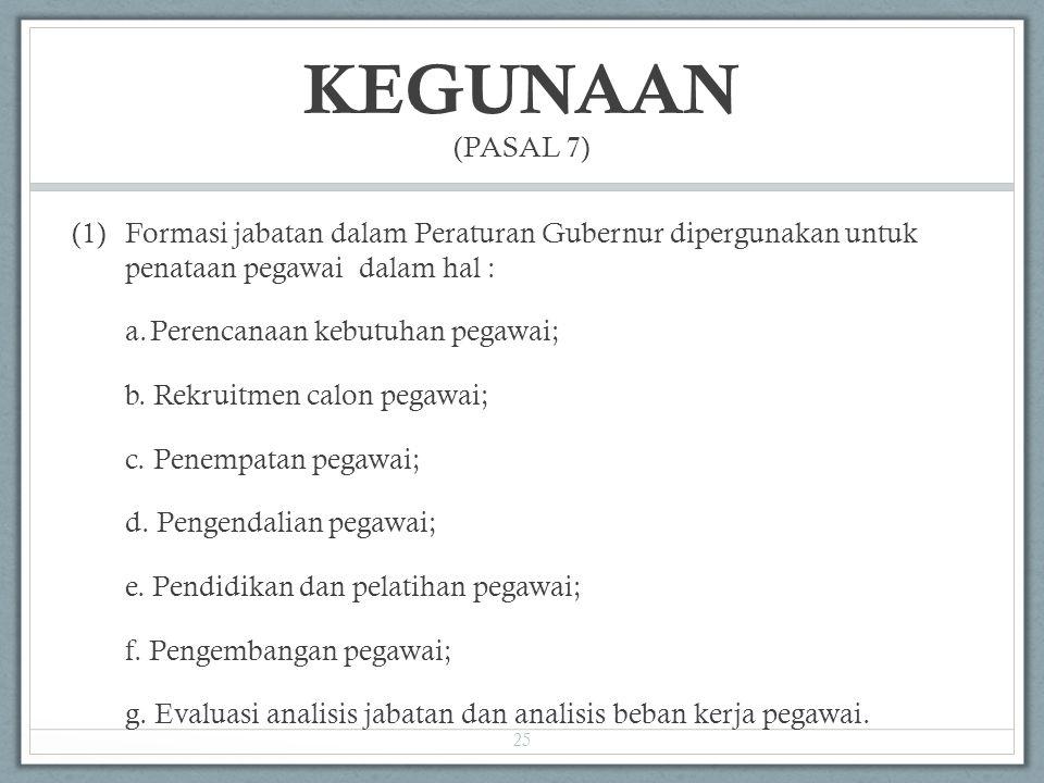 KEGUNAAN (PASAL 7) (1) Formasi jabatan dalam Peraturan Gubernur dipergunakan untuk penataan pegawai dalam hal :