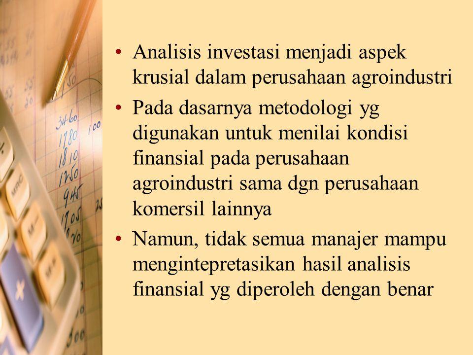 Analisis investasi menjadi aspek krusial dalam perusahaan agroindustri