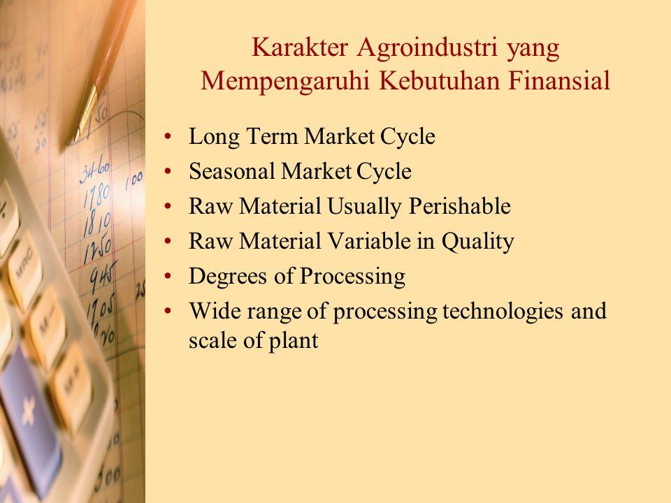 Karakter Agroindustri yang Mempengaruhi Kebutuhan Finansial