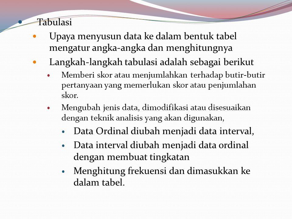 Langkah-langkah tabulasi adalah sebagai berikut